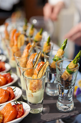 Glasses with seafood snacks -  banquet d