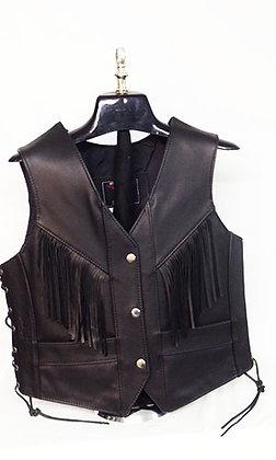 Women's Fringe Black Vest