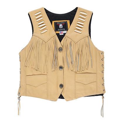 Women's Bone Fringe Nickle Snap Buckskin Vest
