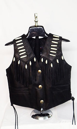 Women's Bone Fringe Nickle Snap Black Vest