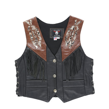 Women's 2-tone Distressed Vest