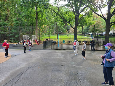 senior citizens dance class outside during covid