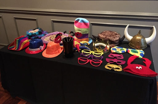 photo booth rental props at a birthday party