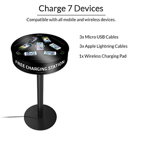 7 devices charging on a cell phone charging station
