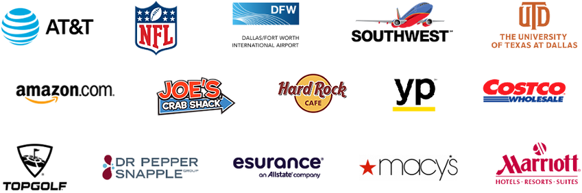 logos from corporate photo booth rental in dfw