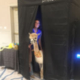 enclosed photo booth rental at a corporate conference at Hyatt Lost Pines in Cedar Creek