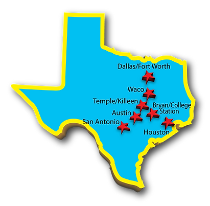 Texas map with cities we service for photo booth rental