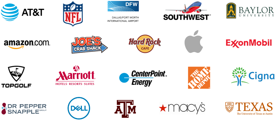 corporate photo booth rental logos from past clients