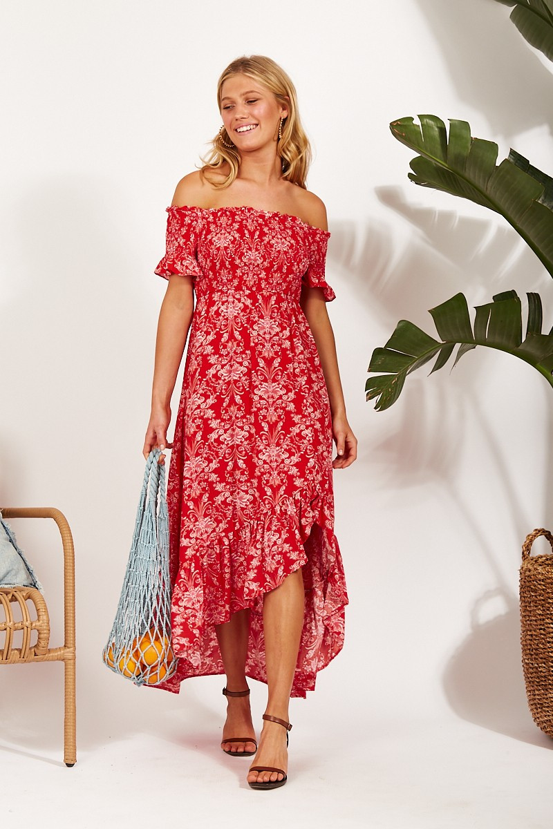 Xabrina Dress In Red With Pink Paisley Print $89.90