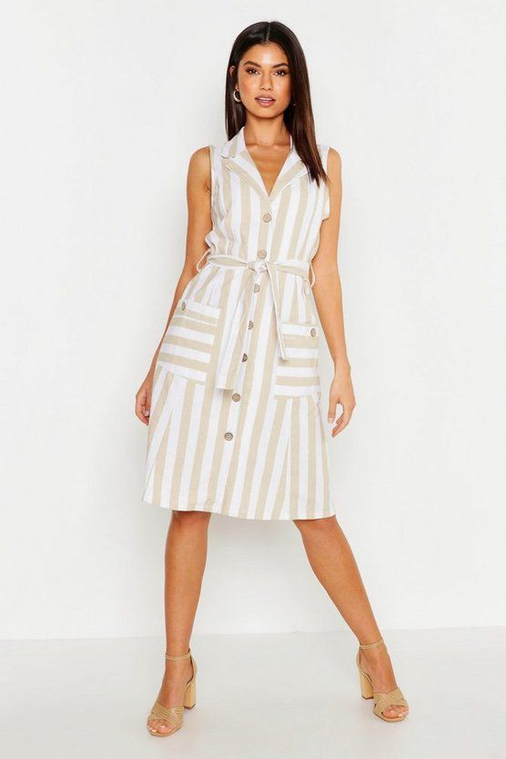 Linen Stripe Pocket Button Through Midi Dress