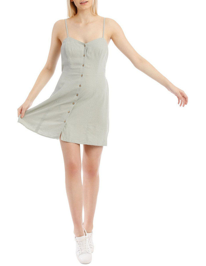 Linen Blend Button Detail Dress $49.95