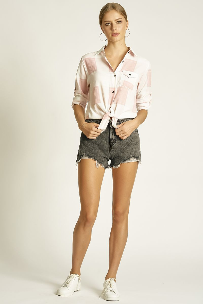 TIE UP SHIRT WITH ROLL UP CUFF (326106) SKU 326106_B120_CPK $15.99