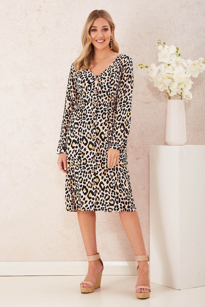 Metro Dress In Peach Leopard Print Special Price $26.00  $89.90