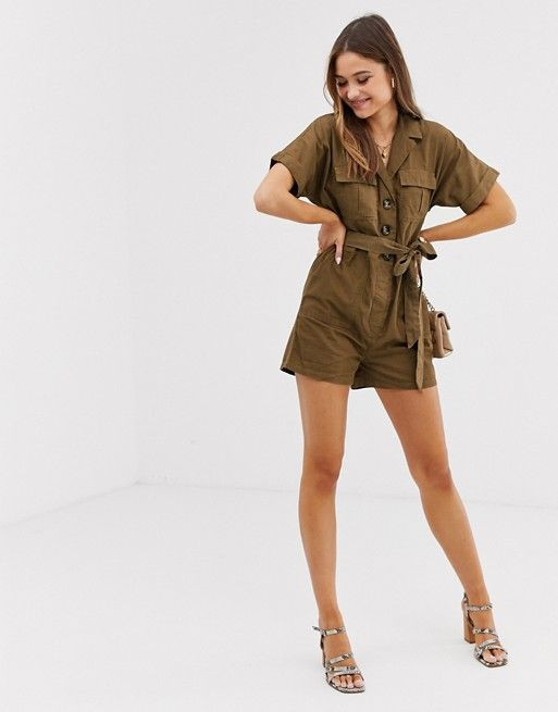 River Island utility playsuit with belt in khaki $55.00$92.00