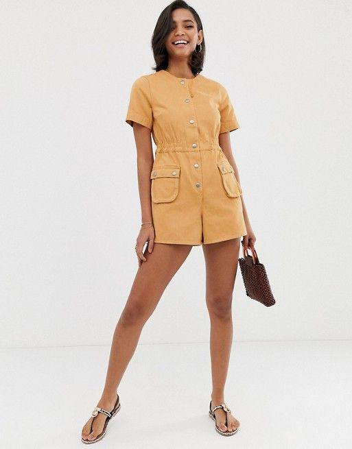 ASOS DESIGN denim utility playsuit with billow pocket detail $49.00$76.00