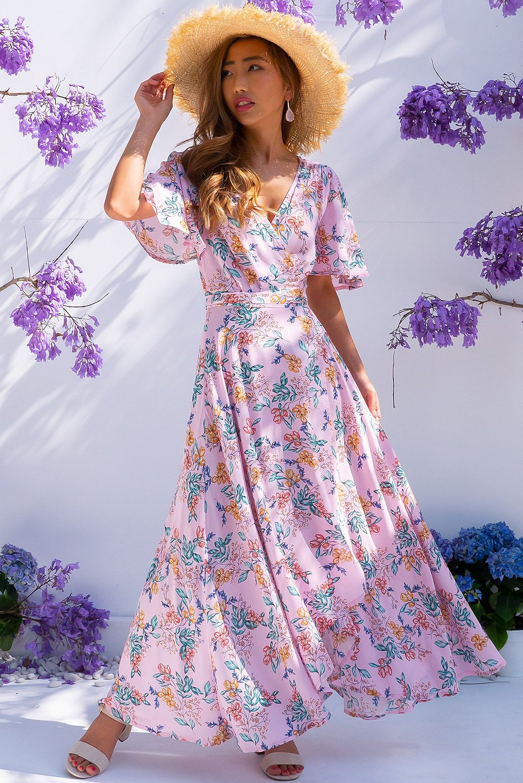 Petal Sweet Dreams Pink Maxi Wrap Dress $79.99 AUD $89.99
