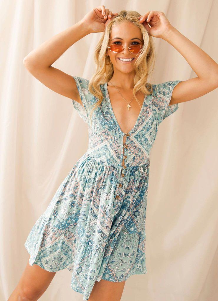 Saltwater Dress - Sage Floral Now $48.97 (Was $69.95)
