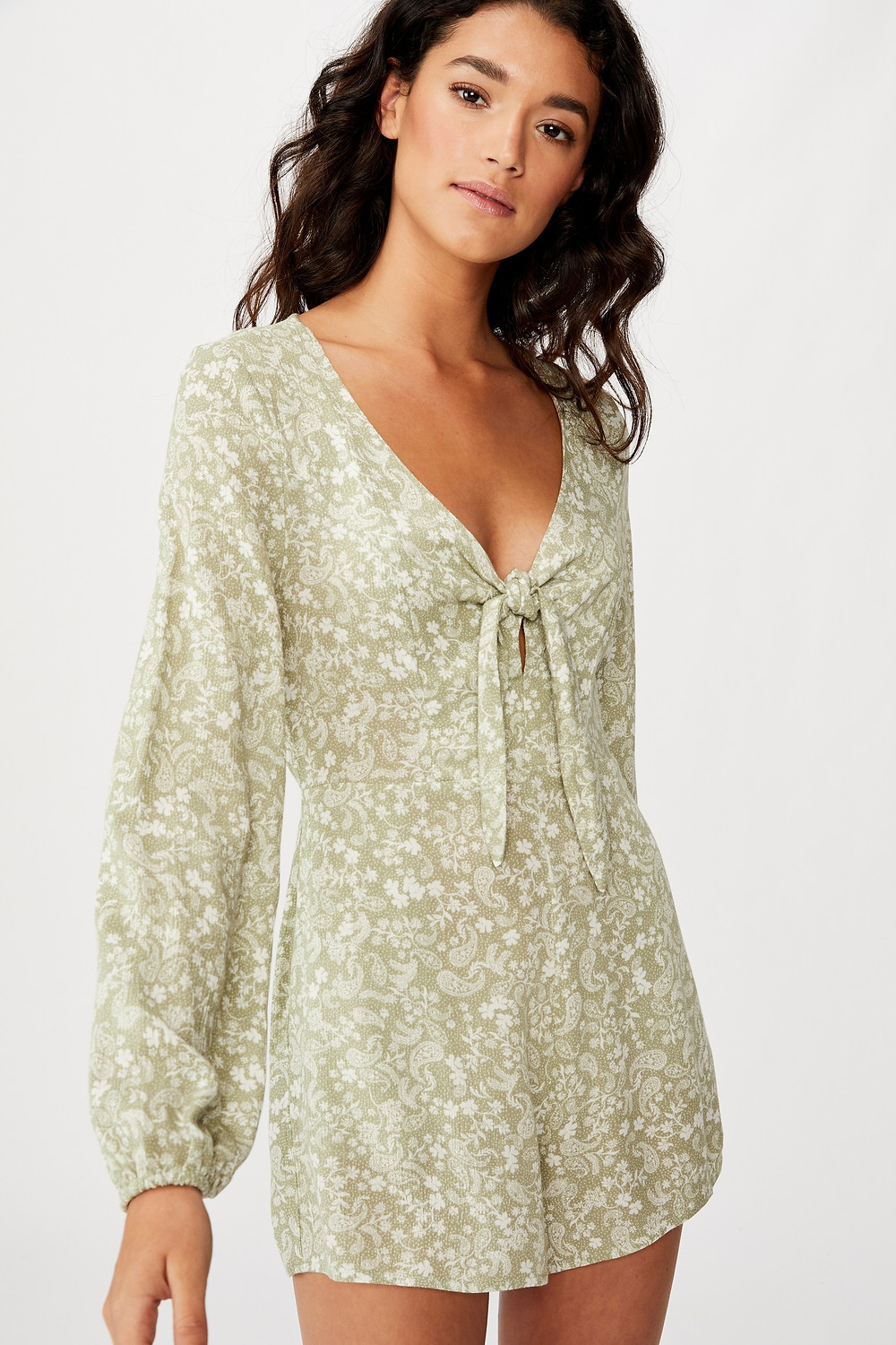 Woven Alena Tie Front Long Sleeve Playsuit Detailshttps://cottonon.com/AU/woven-alena-tie-front-long-sleeve-playsuit/2005535.html $39.99