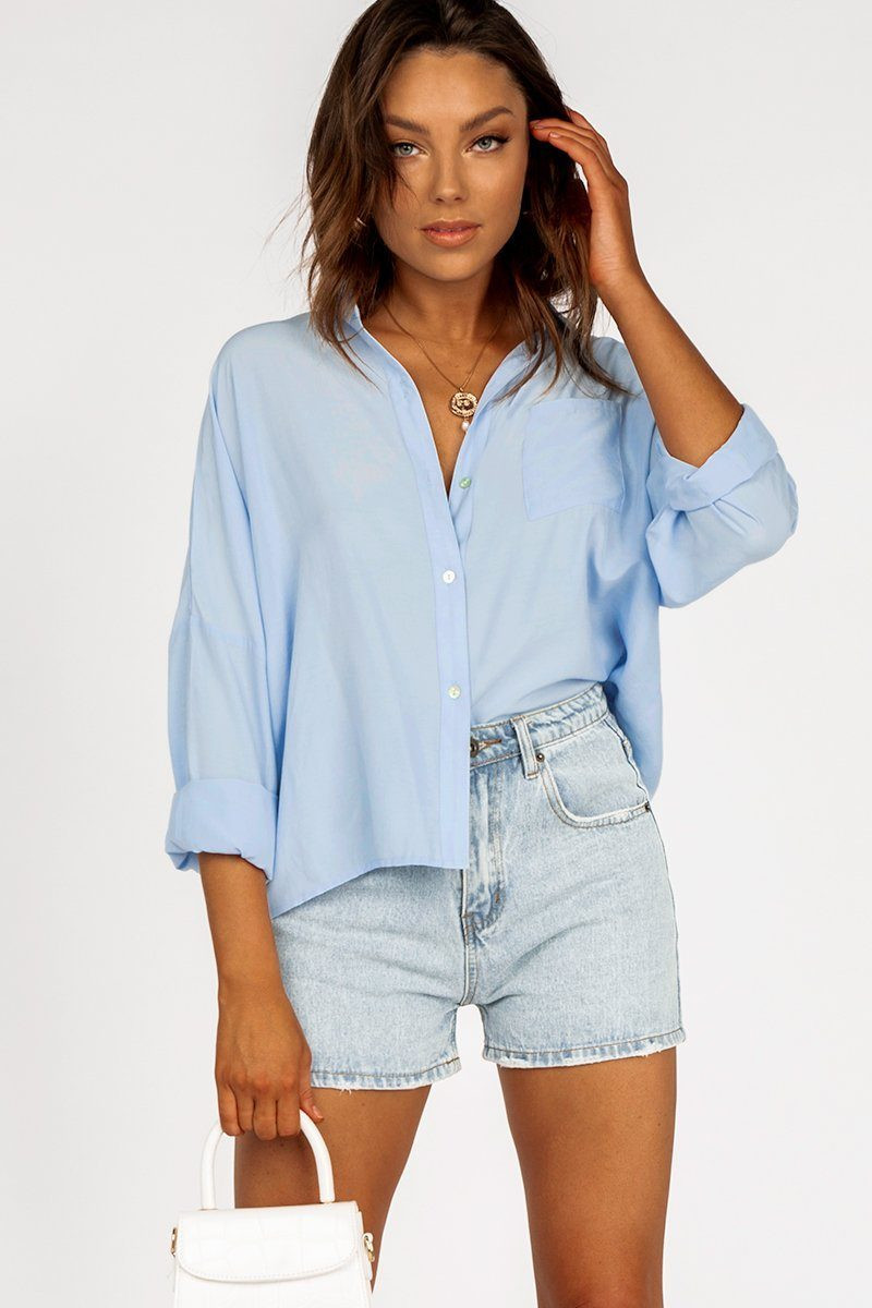 ABOUT ME BLUE BUTTON FRONT SHIRT DISSH EXCLUSIVE  Regular price $49.99 $29.00