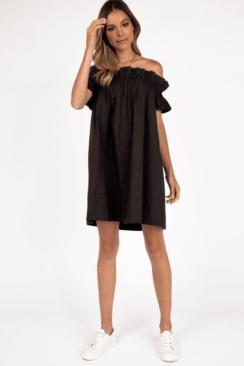 TIPPING BLACK OFF SHOULDER DRESS DISSH EXCLUSIVE  $89.99