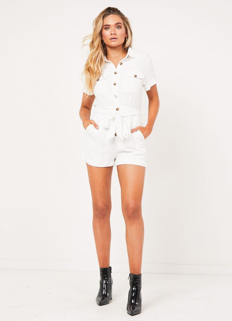 Literature Playsuit - White A$69.95