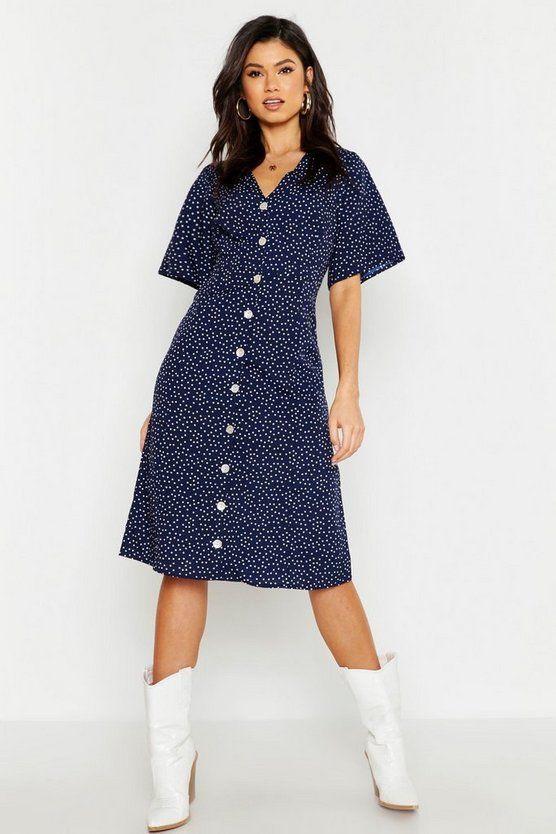 Woven Spot Button Through Midi Dress