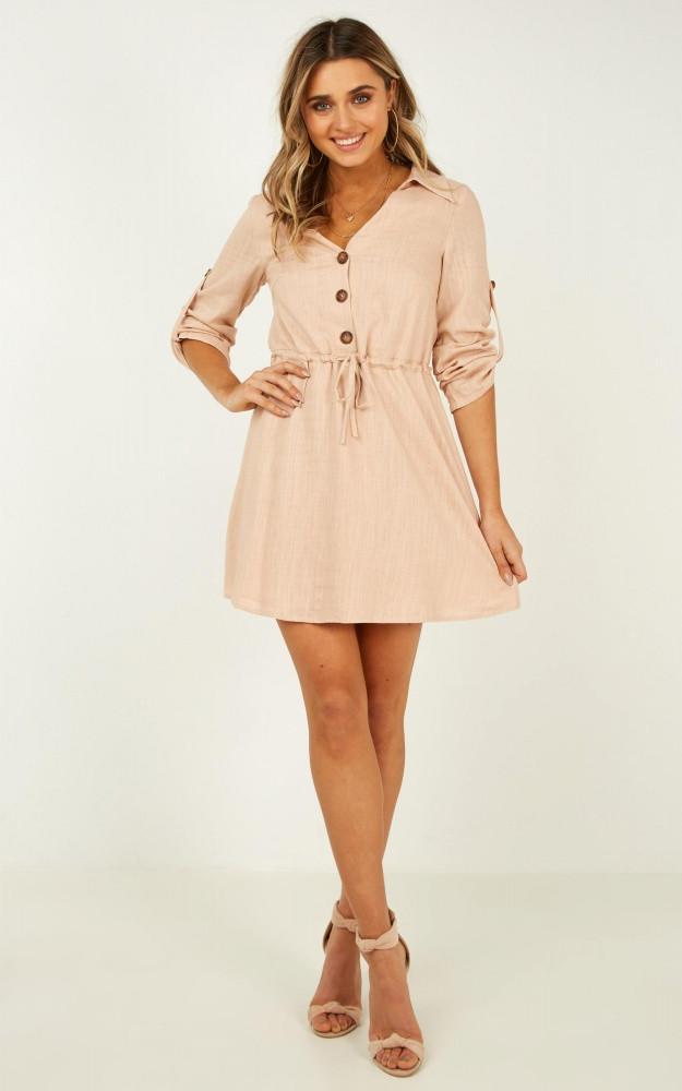 Stick With It Dress In Beige Price: AU$69.95 AU$42.00
