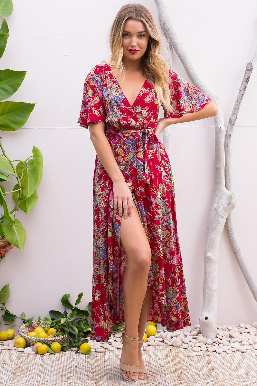 Petal Crimson Honey Eater Maxi Wrap Dress $89.99