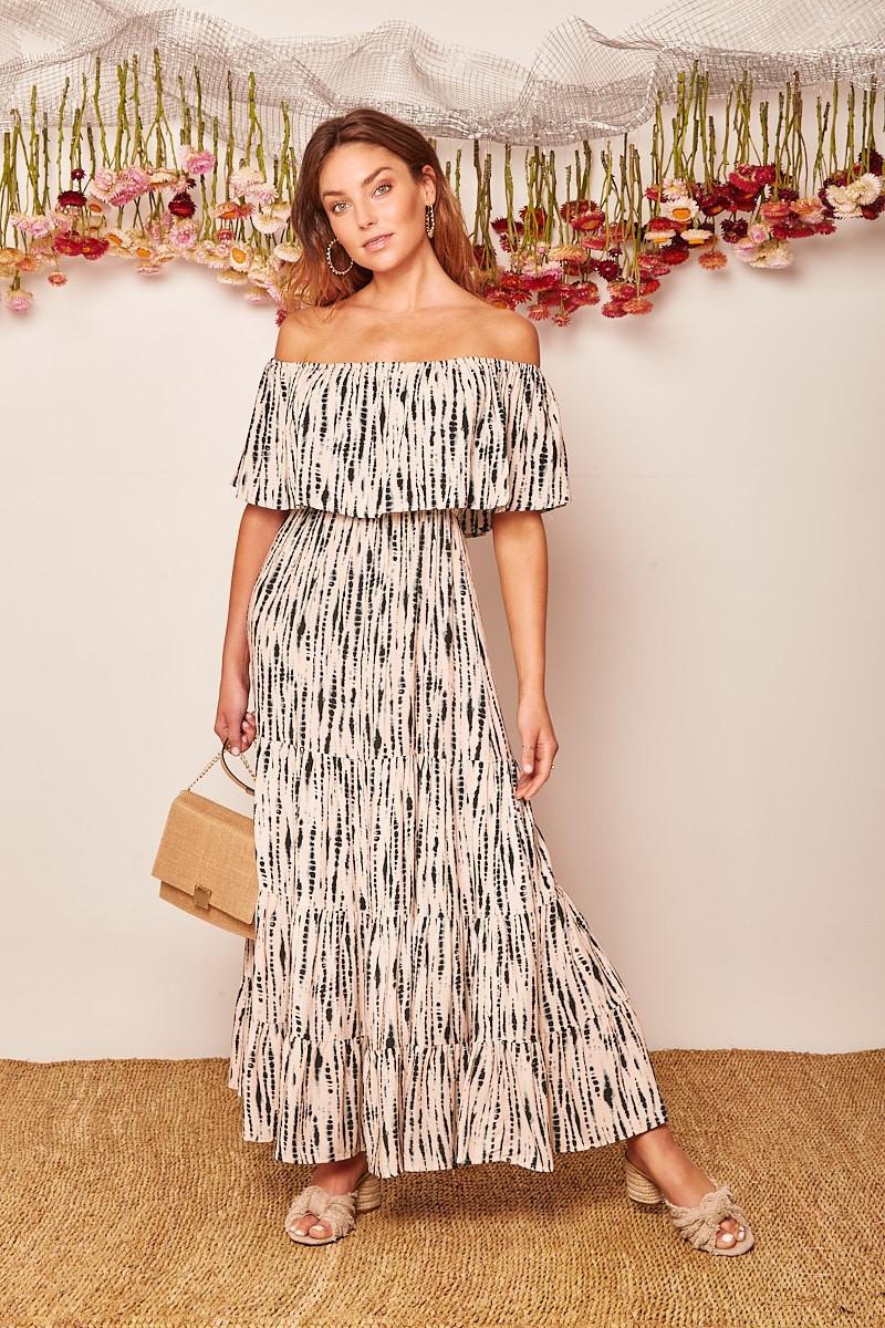 Lakia Dress In Beige With Black Tie Dye Special Price $44.00  $89.90