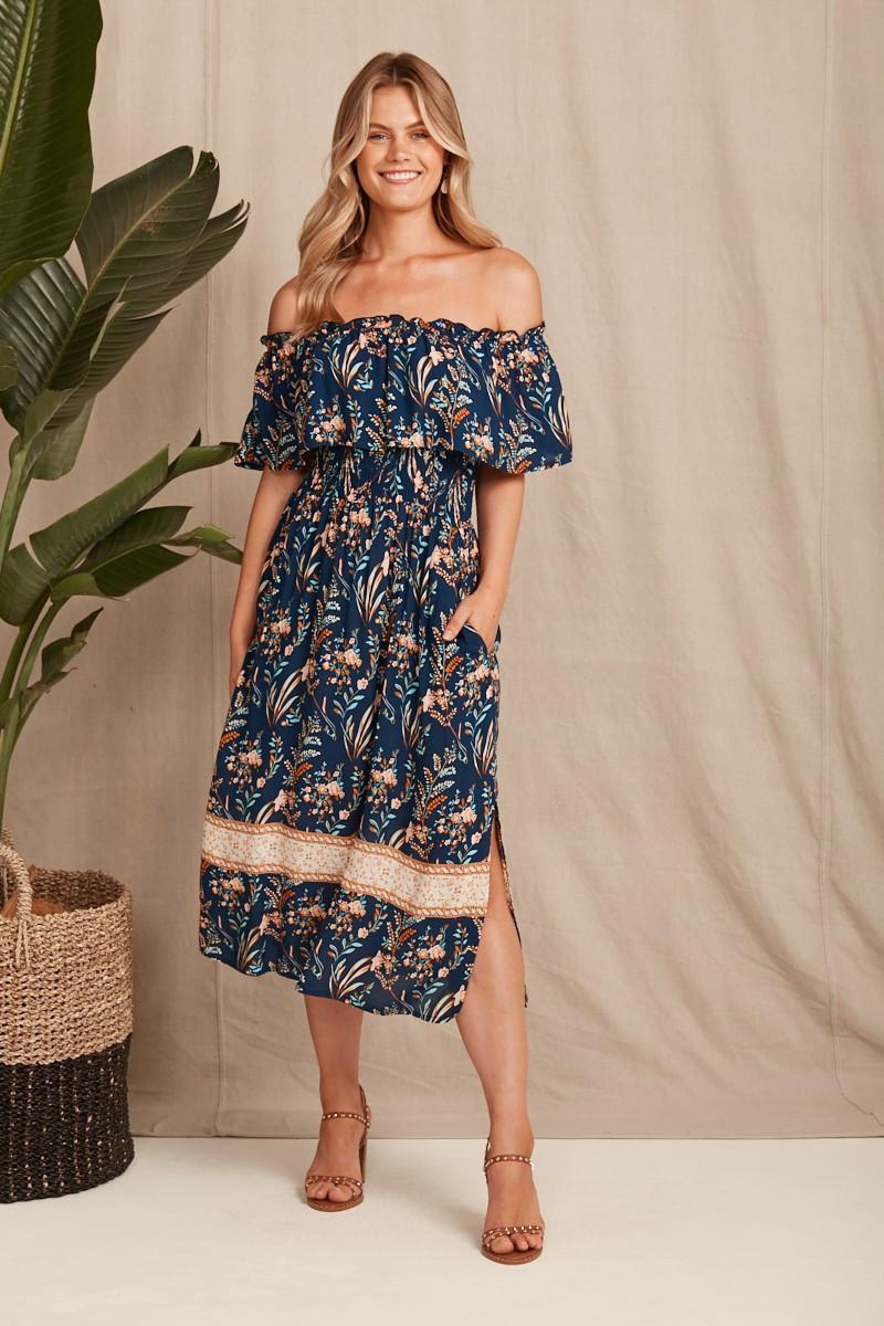Dakota Dress In Navy With Boho Floral $79.90