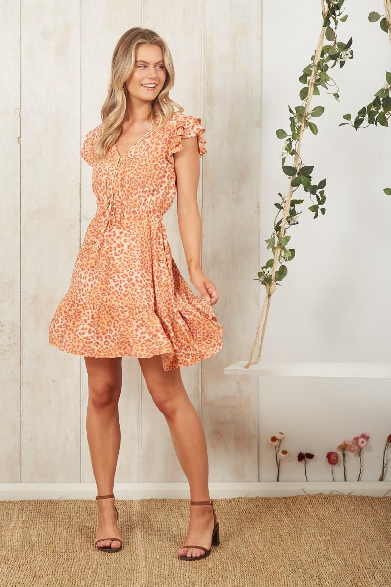 Dont Let Go Dress In Apricot Leopard Print $69.90