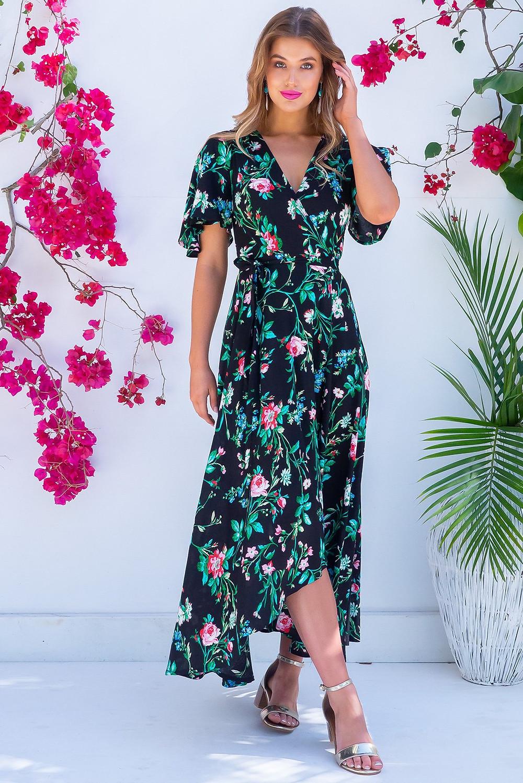 Petal Cotswold Noir Maxi Wrap Dress $89.99