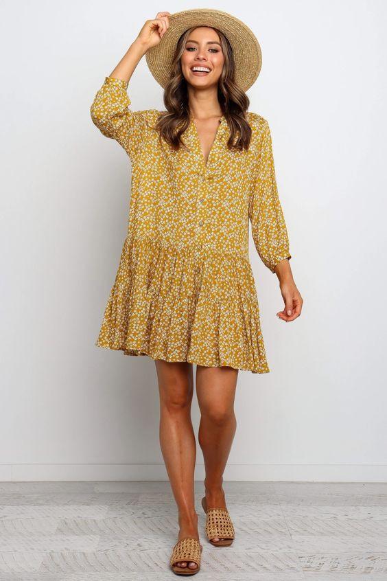 Hilda Dress - Mustard $69.95