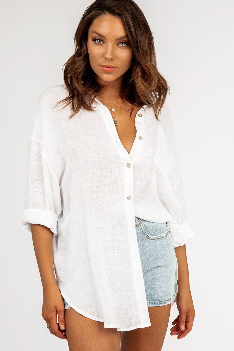 PLAYING BY THE RULES WHITE SHIRT DISSH EXCLUSIVE  $59.99