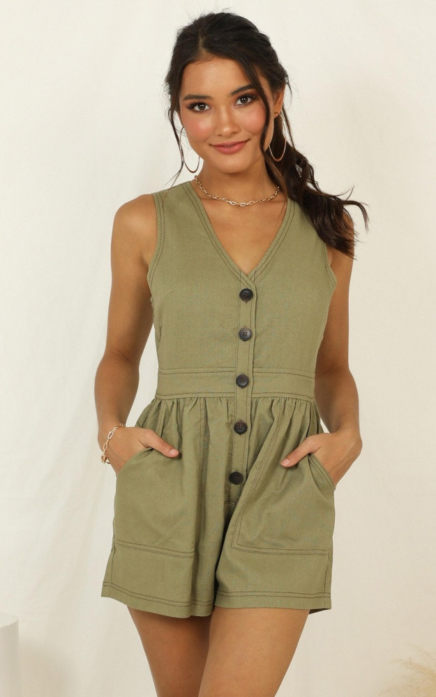 Arrive On Time Playsuit In Khaki Linen Look Price: AU$69.95