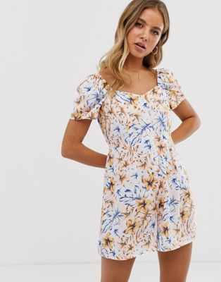New Look square neck button through playsuit in floral print $40.00