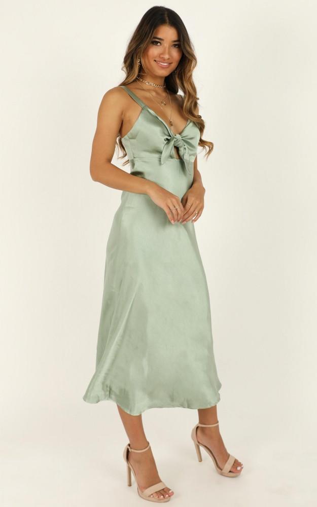 A Missing Feeling Dress In Sage Satin $74.95