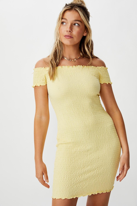 Kristy Shirred Off Shoulder Dress $35
