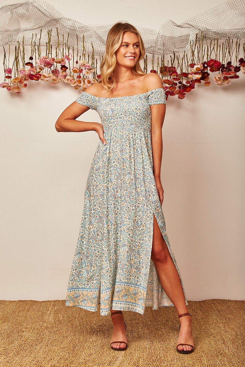 Under The Sun Maxi Dress In Blue With Beige Floral $69.90