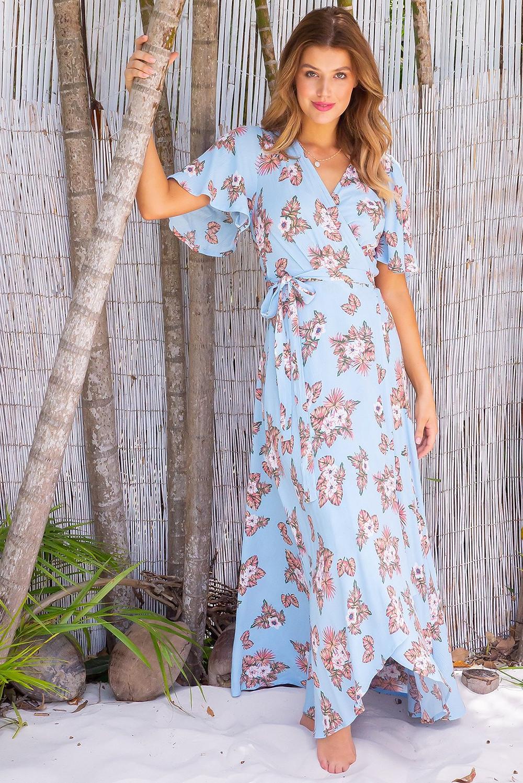 Cinnamon Bahama Skies Maxi Wrap Dress $89.99