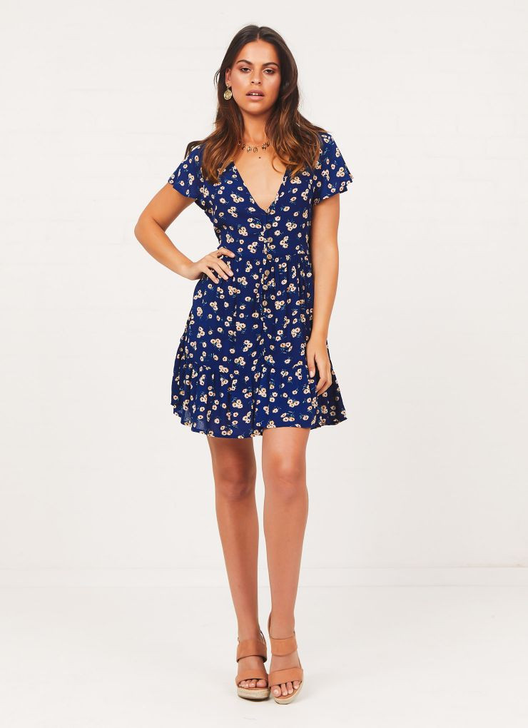 Saltwater Dress - Navy Floral Now $48.97 (Was $69.95)