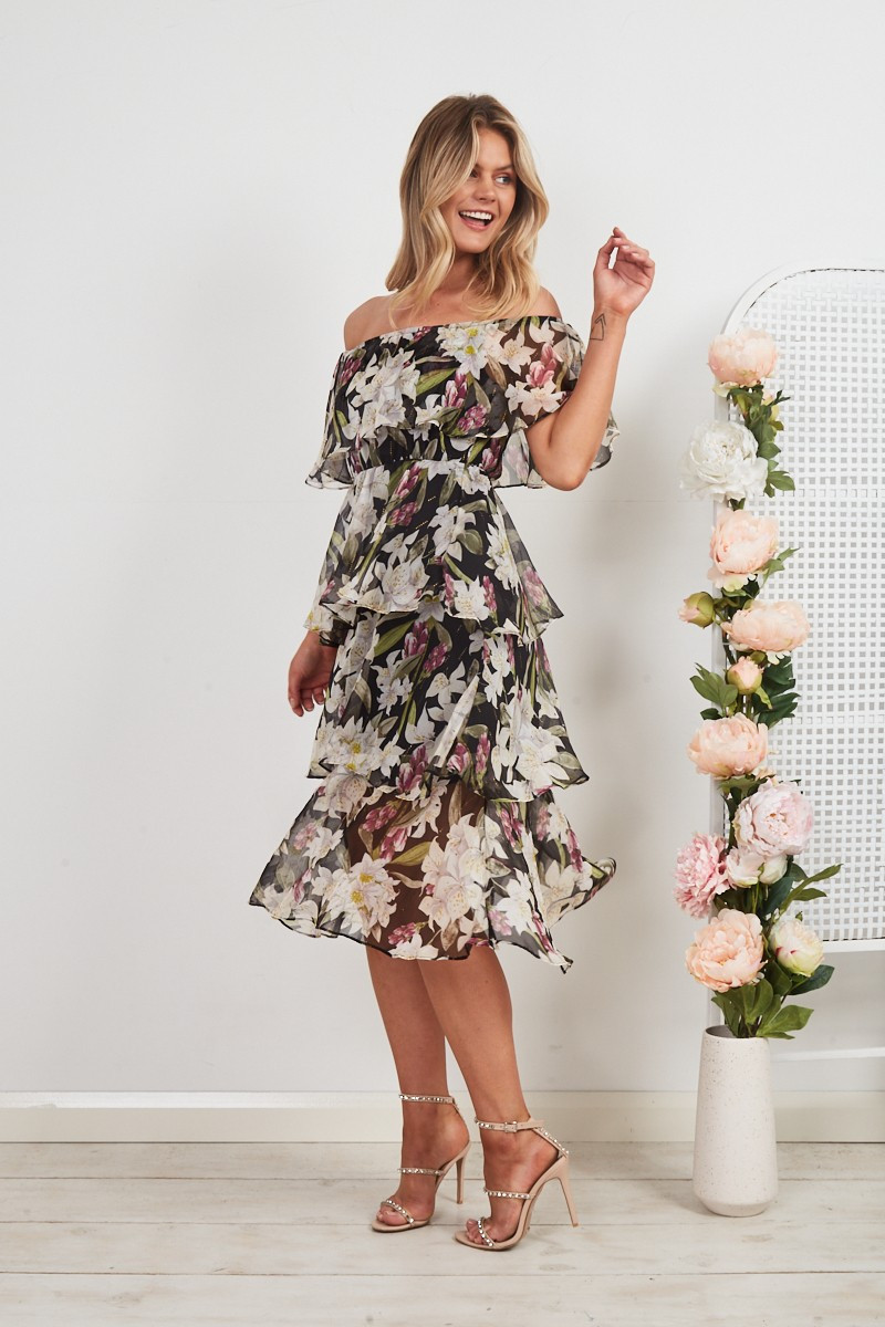 My Cherie Midi Dress In Black Floral With Gold Lurex $89.90