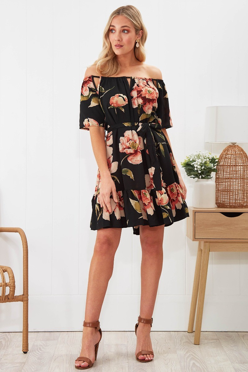 Lilian Dress In Black With Blush Floral Special Price $41.00  $69.90