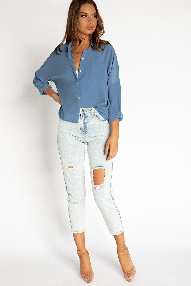 ABOUT ME OCEAN BUTTON FRONT SHIRT DISSH EXCLUSIVE  Regular price $49.99 $29.00