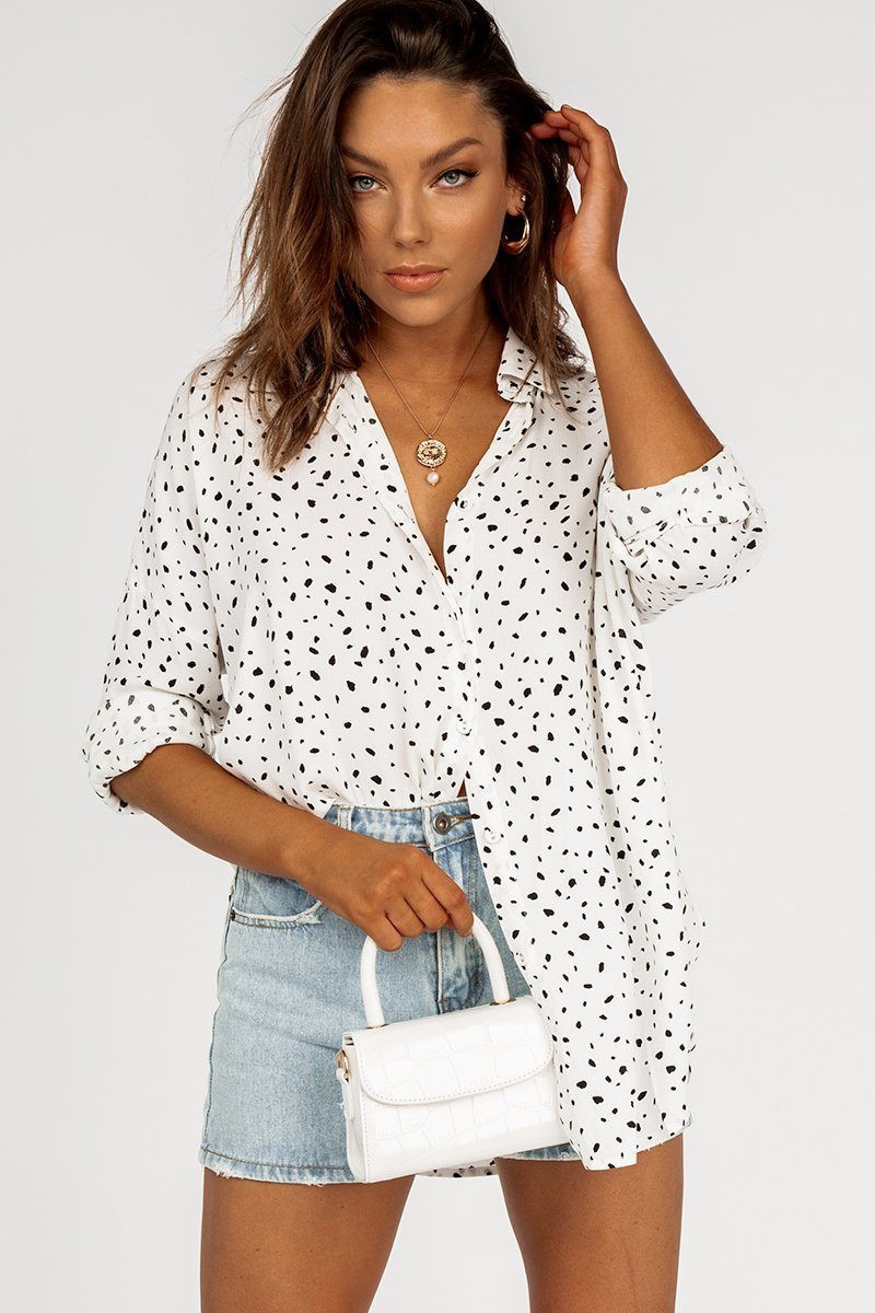 SHY GUY WHITE BLACK SPOT SHIRT DISSH EXCLUSIVE  Regular price $59.99 $49.00