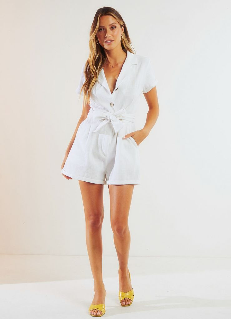 Travers Playsuit - White A$69.95