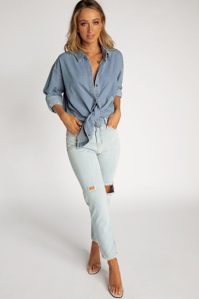 BE THERE FOR YOU BLUE DENIM SHIRT DISSH EXCLUSIVE  Regular price $59.99 $29.00