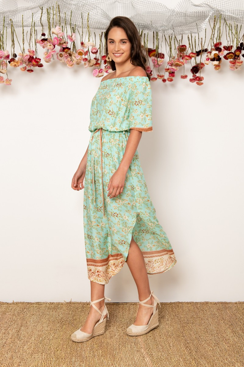 Hummingbird Dress In Turquoise With Beige Floral $69.90