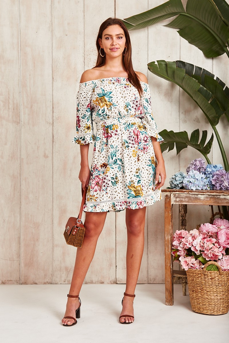 Wonder Dress In White With Pink And Yellow Floral Special Price $34.00  $69.90