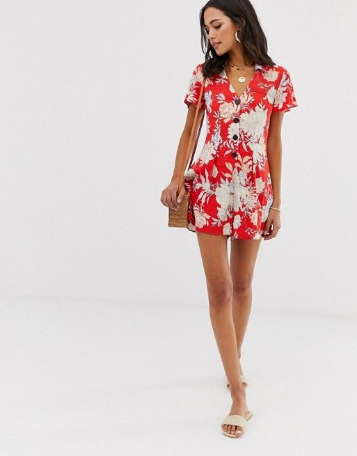 ASOS DESIGN button front tea playsuit in floral print $42.00$70.00